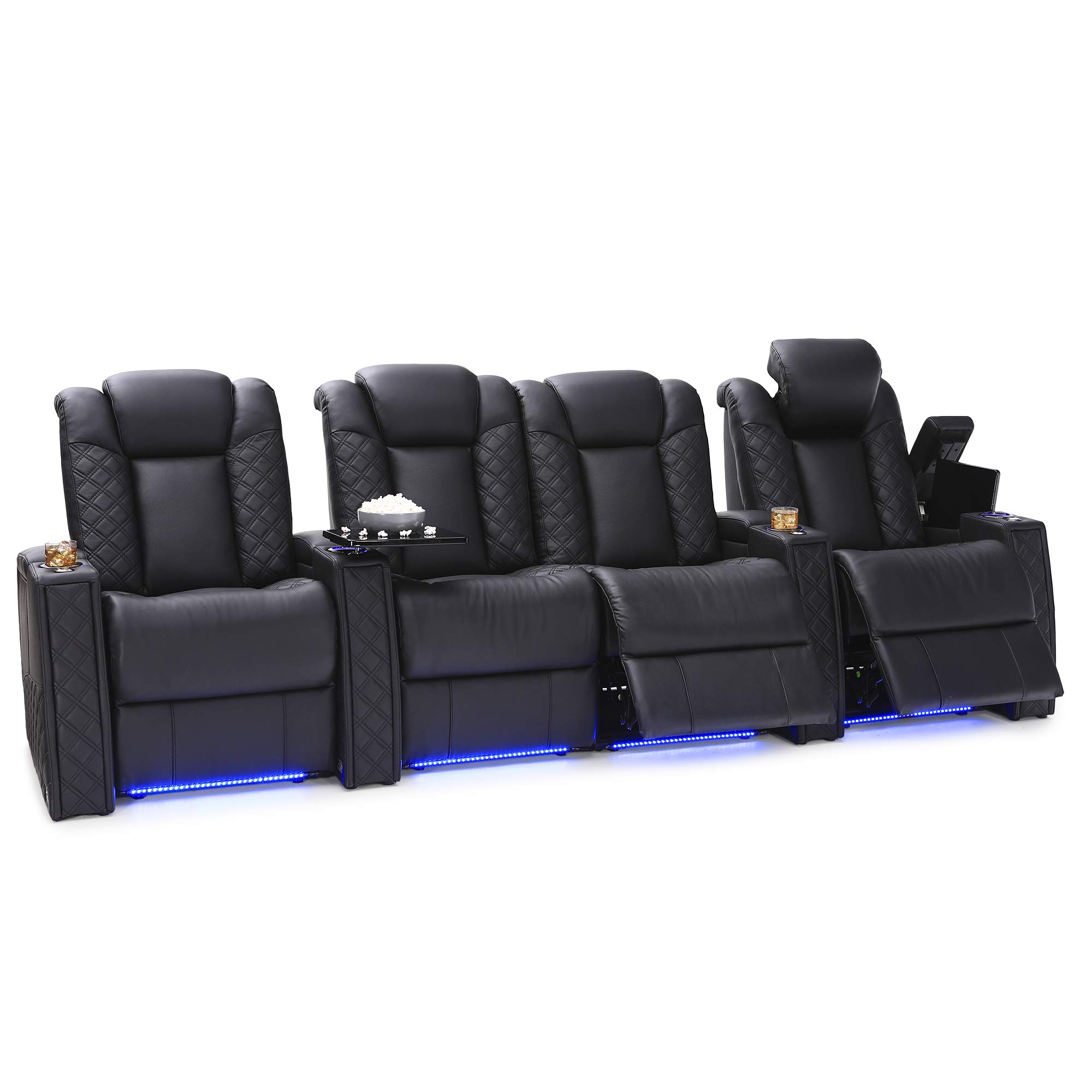 Seatcraft Enigma Home Theater Seating Leather Power Recline with Powered Headrest and Powered Lumbar Support, Built-in SoundShaker, Lighted Cup Holders and Base, Row of 4 Middle Loveseat, Black by Seatcraft