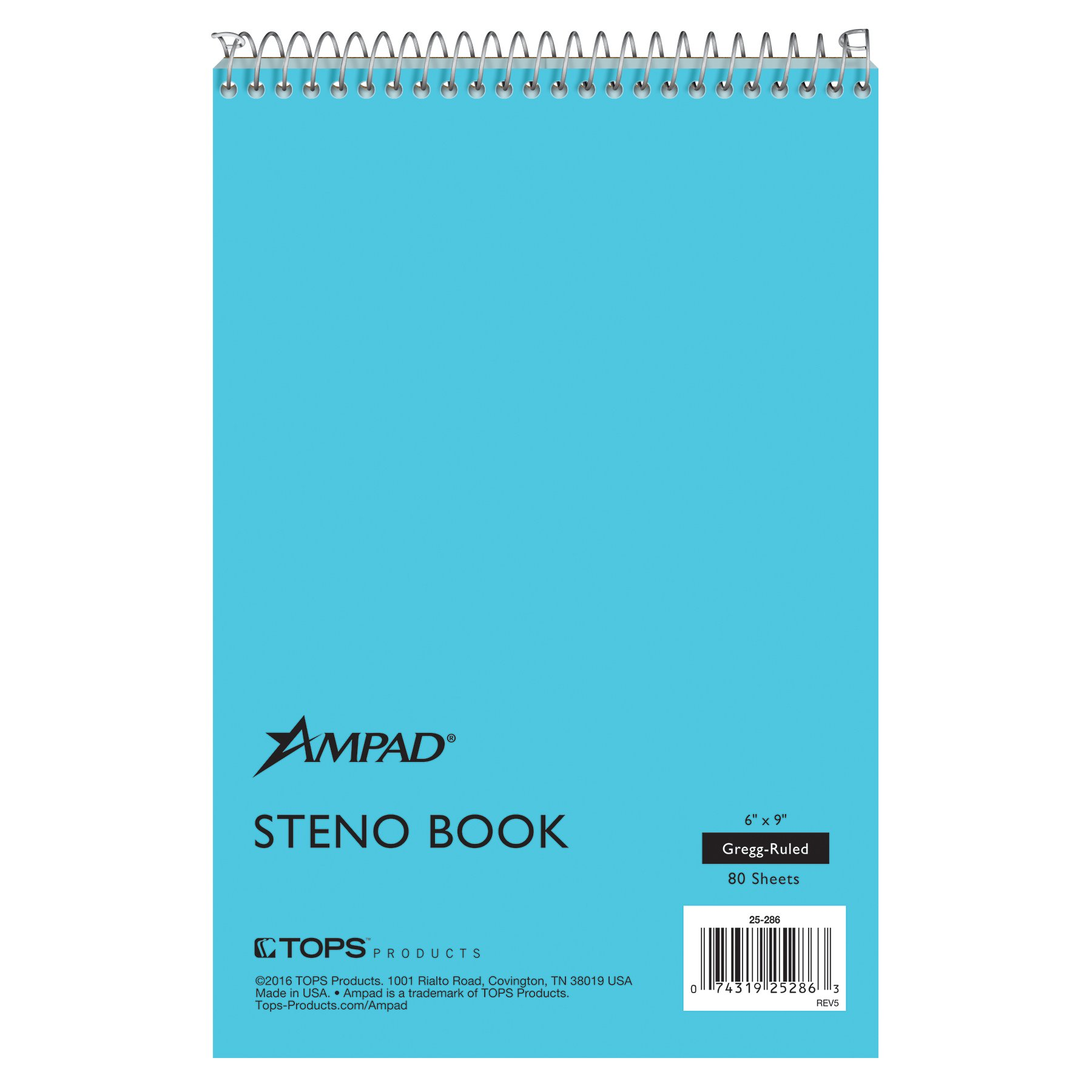 Ampad Steno Book, 6'' x 9'', Gregg Rule, Blue Paper and Cover, 80 Sheets, 12 Pack (25-286)