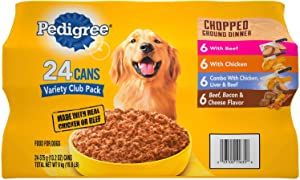 3 X Pedigree Chopped Ground Dinner Wet Dog Food, 24-Ct. Variety Pack, 13.2 Oz.