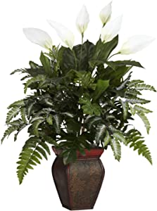 Nearly Natural 6677 Mixed Greens with Spathiphyllum and Vase Decorative Silk Plant, Green,7.5