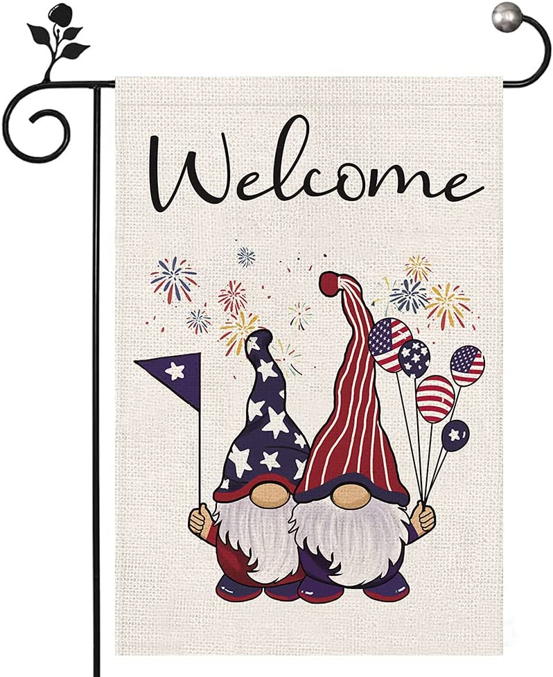 Welcome Garden Flag Patriotic Gnome Small Garden Flags 12 x 18 Inch Double Sided Burlap Flag for Outside Yard Lawn Decoration