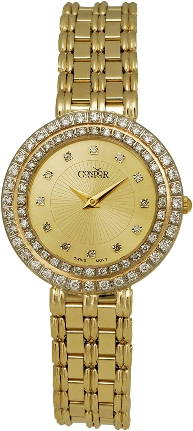 Condor 14kt Gold & Diamond Womens Luxury Swiss Watch Quartz CDRVCH