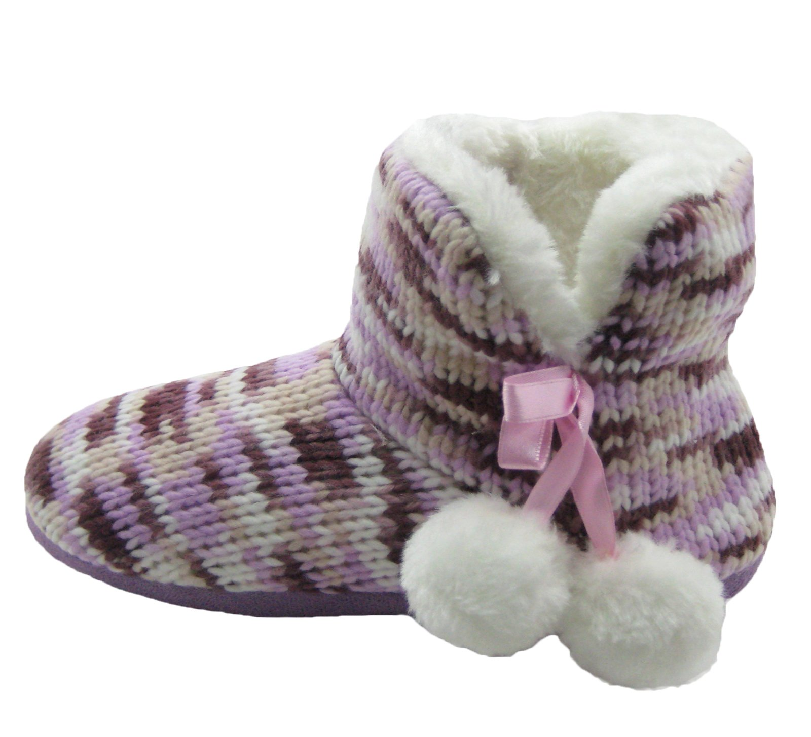 Fashion Blue Women's Knit Booties Slippers with Pom-poms & Fleece Lining (S / 5-6, Lt.Pink)