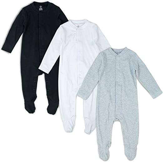 OPAWO 2 Packs Baby Footed Pajamas with Mittens Cuffs Newborn Girls Boys Footie Sleepwear Infant Cotton Overalls