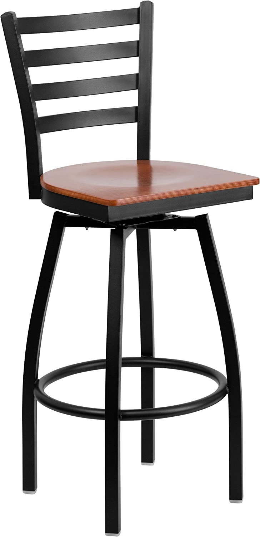 Flash Furniture HERCULES Series Black Ladder Back Swivel Metal Barstool - Cherry Wood Seat