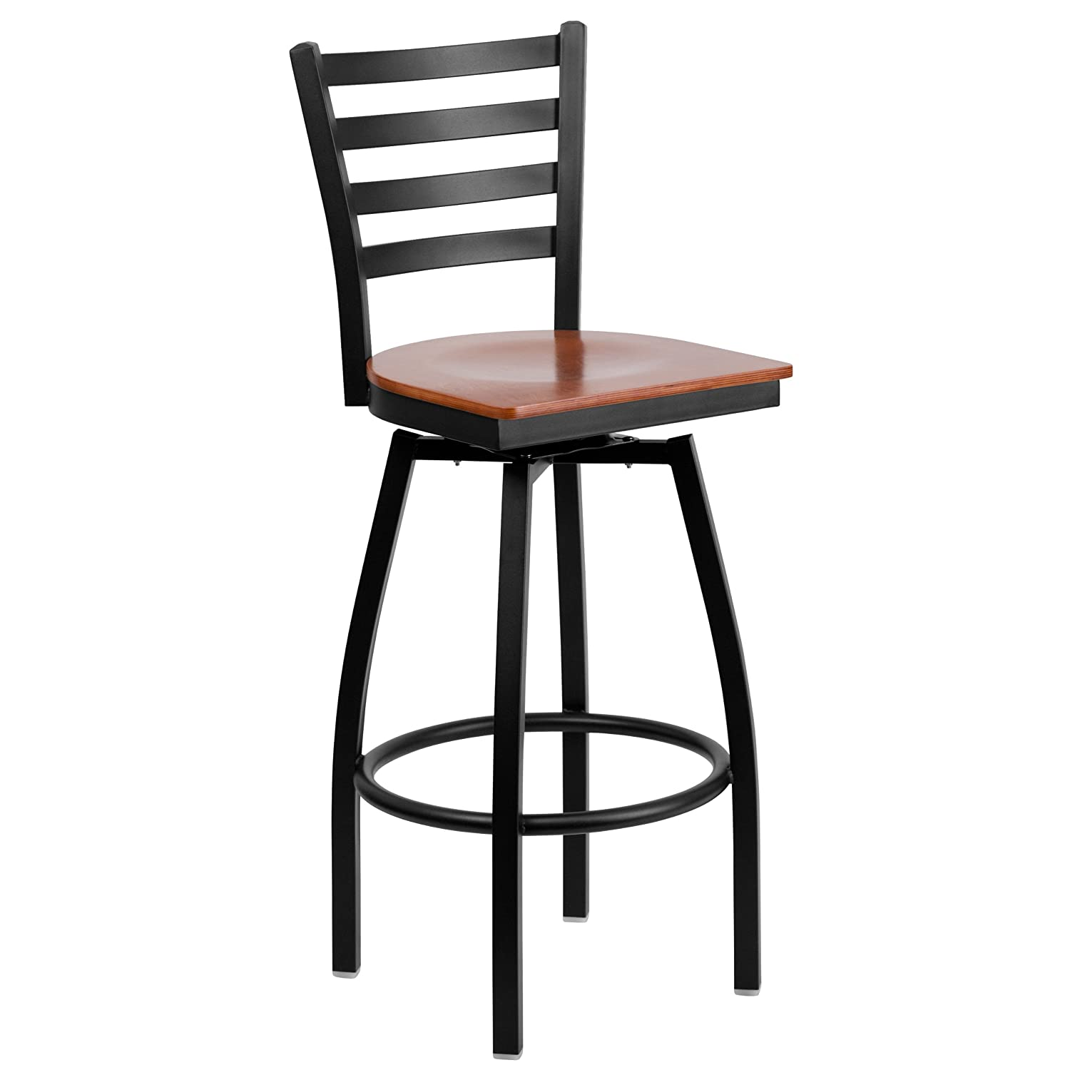 Amazon.com Flash Furniture HERCULES Series Black Ladder Back Swivel Metal Barstool - Cherry Wood Seat Home u0026 Kitchen  sc 1 st  Amazon.com & Amazon.com: Flash Furniture HERCULES Series Black Ladder Back ... islam-shia.org