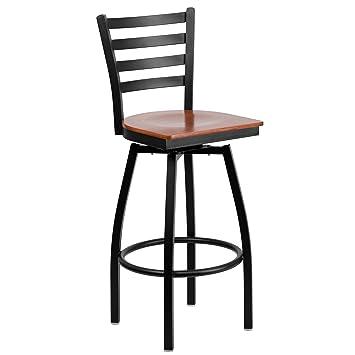 Flash Furniture Hercules Series Ladder Back Swivel Wood Seat Metal Barstool BlackCherry