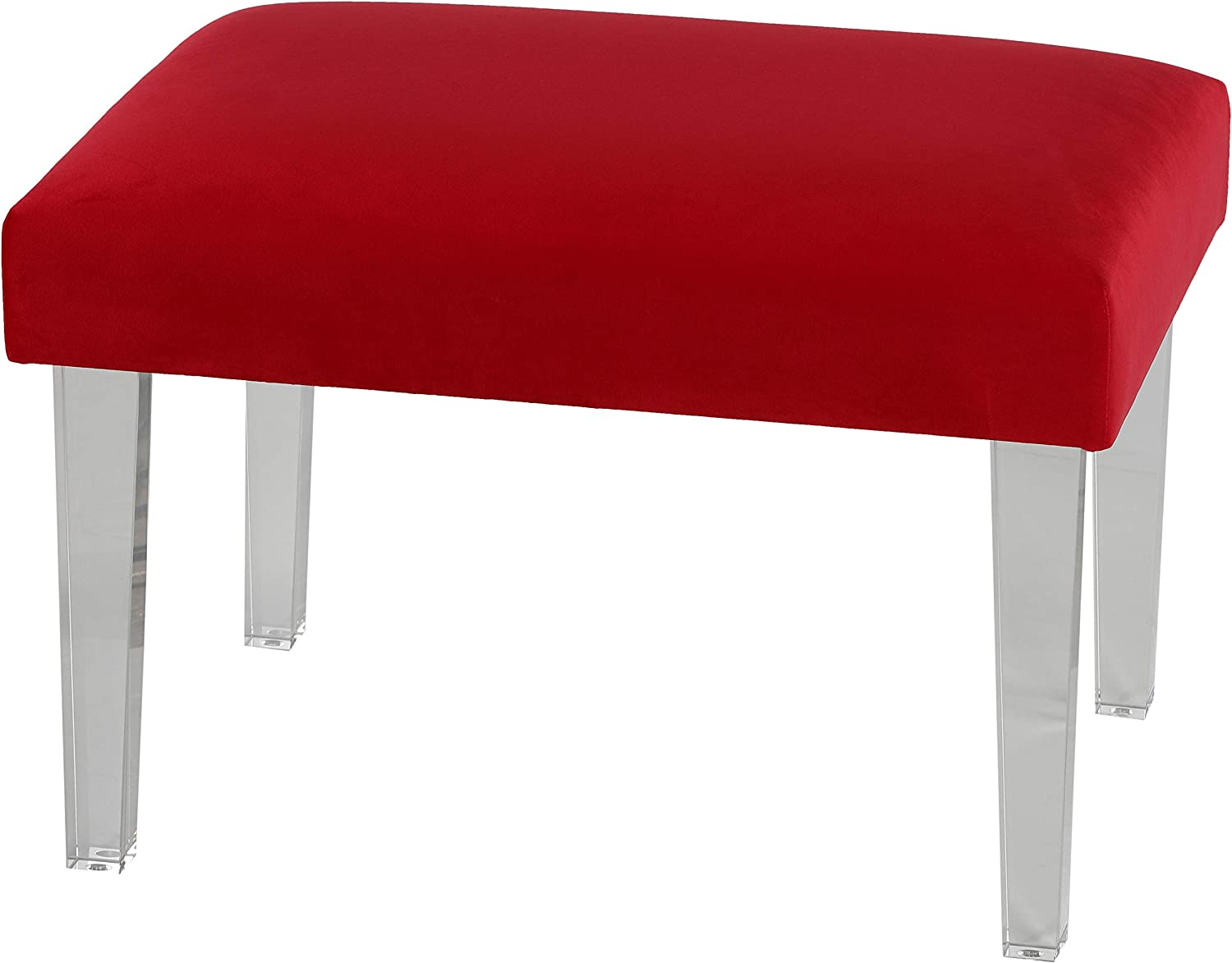 Cortesi Home Whitecrest Bench Ottoman with Clear Acrylic Legs 24
