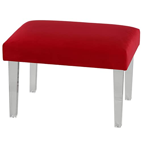 Cortesi Home Whitecrest Bench Ottoman with Clear Acrylic Legs 24 Wide Red Velvet