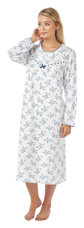 TALLA 36. La Marquise - Vestido de Noche para Mujer, diseño Floral, 100% algodón, Manga Larga