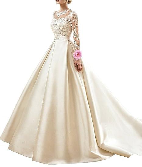 Fanciest Women\'s Vintage Lace Long Sleeve Wedding Dresses For Bride ...