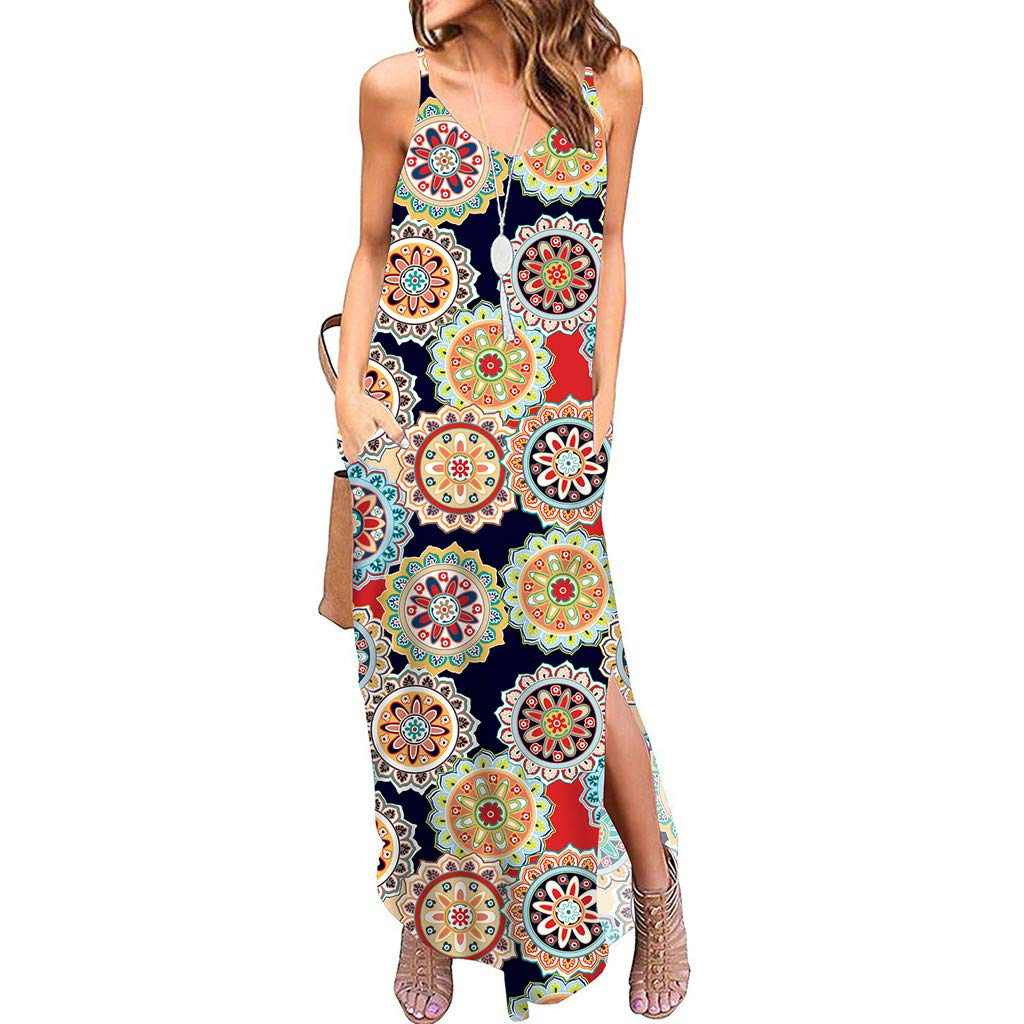 9b28e881edd2 Amazon.com: Women Dresses V-neck Floral Print Dress Sleeveless Long Strappy  Dresses with Pockets Boho Summer Beach Swing Maxi Dress: Musical Instruments