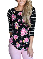 Bdcoco Women's Striped 3/4 Sleeve Floral Print T-Shirts Casual Blouse Tops