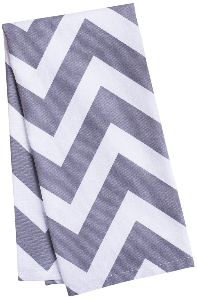 LinenTablecloth Charcoal and White Chevron Kitchen Towels 2-Pack