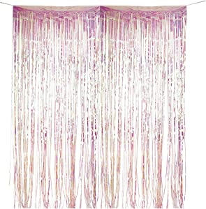 Andaz Press Iridescent Holographic Foil Fringe Party Door Curtain Backdrop, 2-Pack, 6-Feet Total Width x 8-Feet Height, Shiny Metallic Iridescent Themed Decorations, Birthday, Baby Shower, Bachelorett