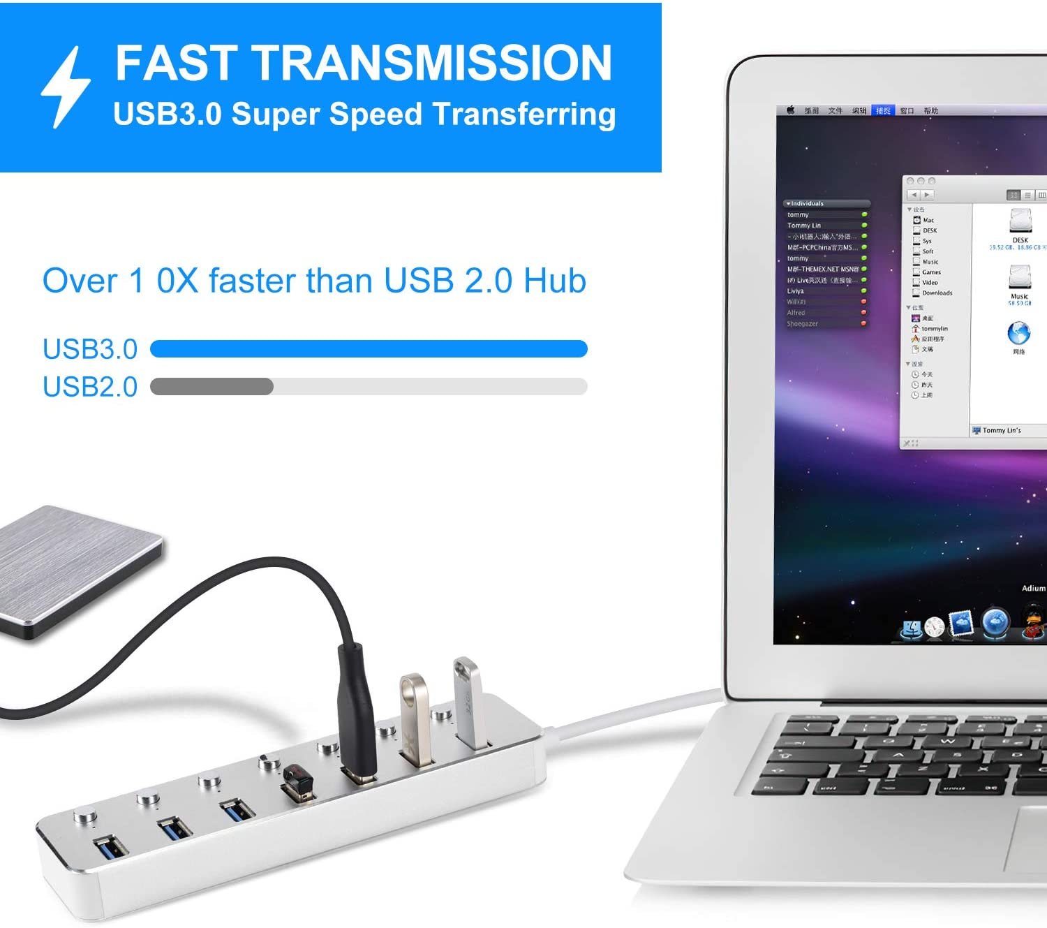 Powered USB 3.0 Hub, Aluminum 7-Port Data Hub Splitter with 5V/2A Power Adapter and USB Cable and Individual Switches for PC Laptop: Computers & Accessories