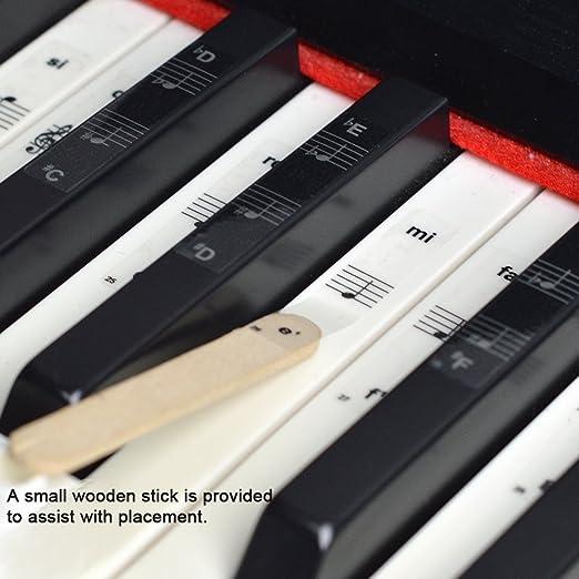 Imelod Pegatinas para teclado o piano para teclado de 49/61/76/88, juego completo de pegatinas para teclas blancas y negras, transparentes y extraíbles, perfectas para niños y principiantes: Amazon.es: Instrumentos musicales