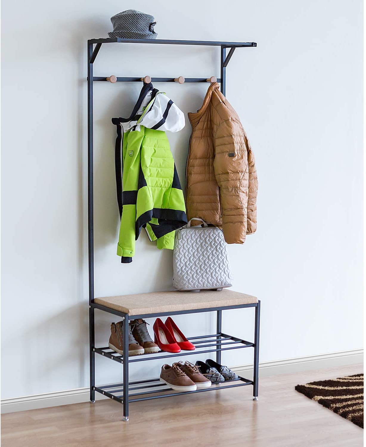 Tatkraft Solution Entryway Hall Tree, 2-tier Shoe Bench