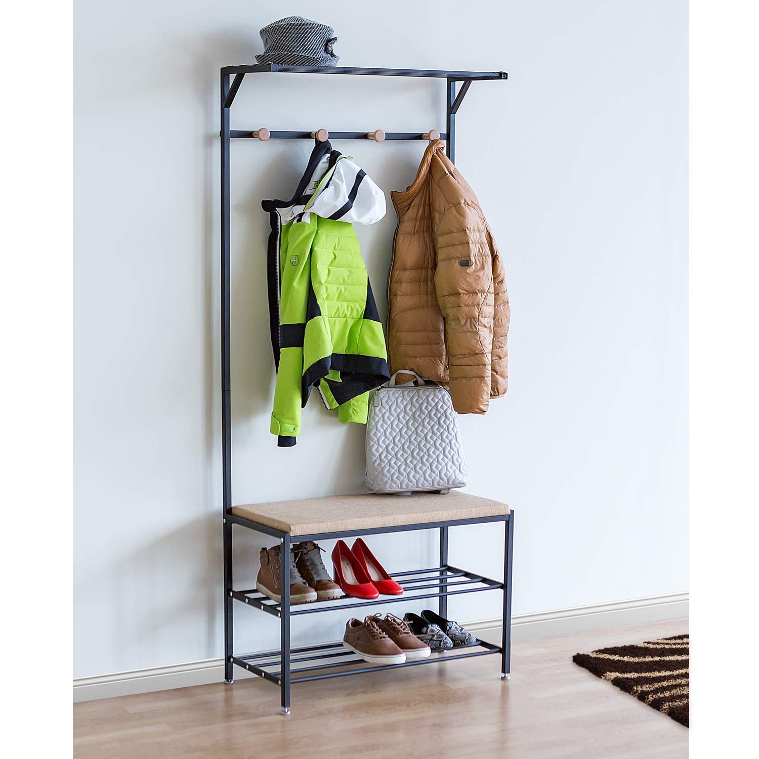 Tatkraft Solution Entryway Coat Rack Bench Shoe Rack, Coat Stand with Metal Frame, 2-Tier Shoe Rack, Strong, Stylish and Durable