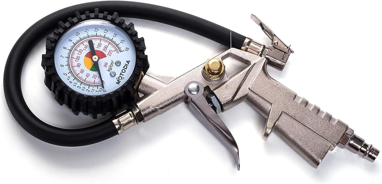 MotoDia MD3 - inflador de neumáticos con manómetro de 220 psi, de uso industrial, para coches, motos y bicicletas con válvula Presta y Schrader