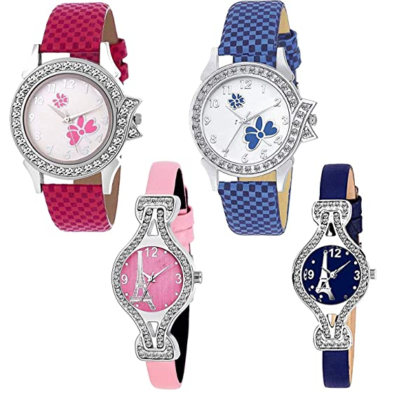 0cc5d3949 Buy Frida Quartz Movement Analogue Display Multicoloured Dial Women's Watch  (ARMBLK~27GREY~27SMILY) - Pack of 4 Online at Low Prices in India -  Amazon.in
