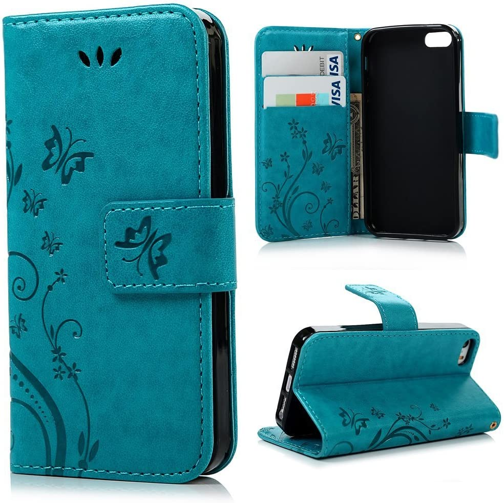 iPhone 5s SE Case,iPhone 5 5s SE Wallet Case,LW-Shop for iPhone 5 5s SE PU Leather Case [Built-in Credit Card Slots] Magnetic Design Flip Folio Leather Cover Case with Flower Butterfly Pattern(Blue)