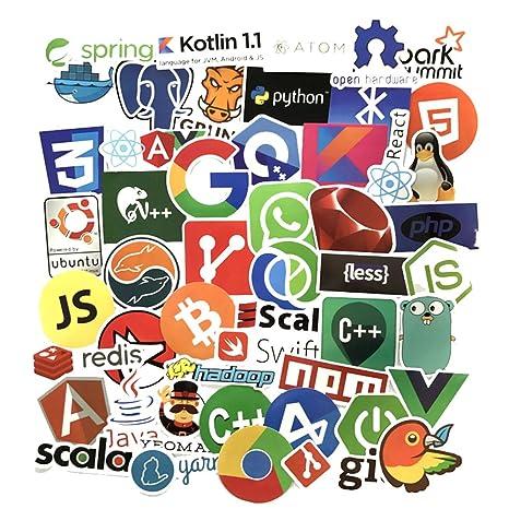 Sanmatic 50Pcs Laptop Aufkleber für Entwickler Programmiersprache gehören Aufkleber IT-Logo, C ++, Python, Linux, Swift, für