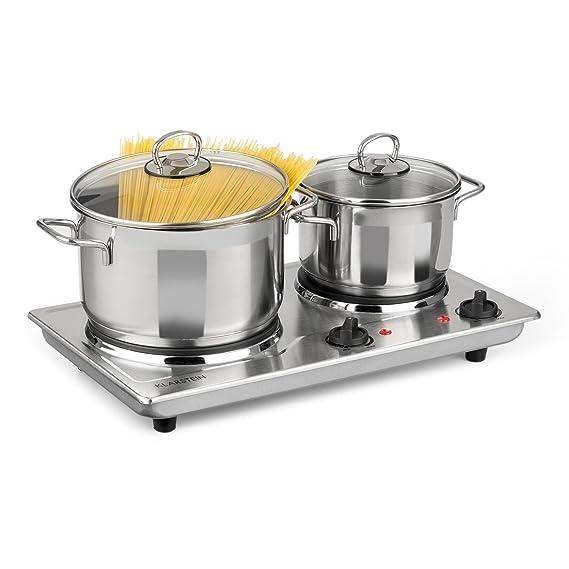 Klarstein Cookomaniac • Cocina eléctrica • Dos fogones • 2500 W • Hasta 320° C • Carcasa de buen calidad de acero • Con reguladores de temperatura de forma ...
