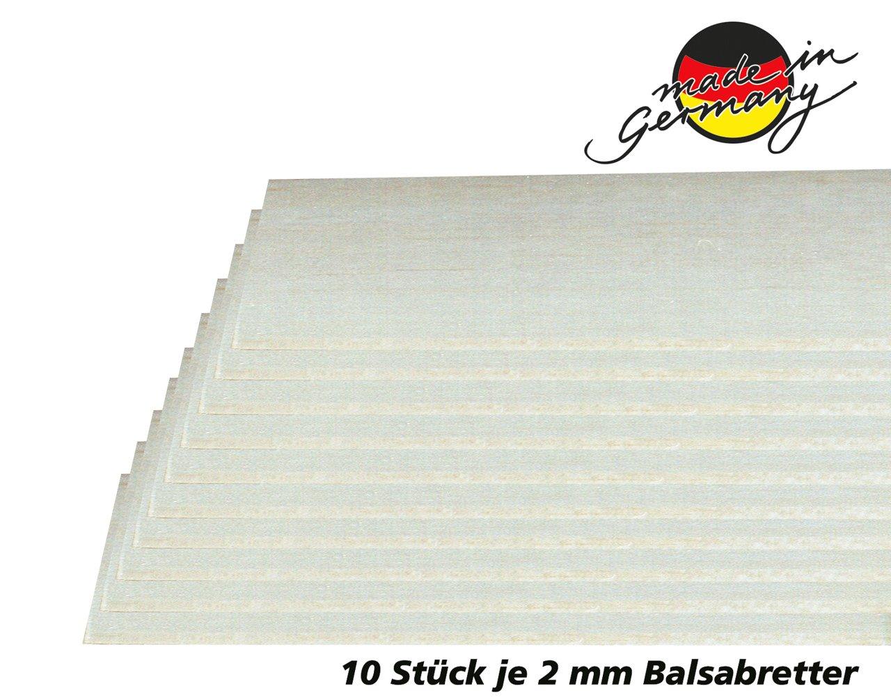 /Lot de 10/en qualit/é AAA Bois de balsa fabriqu/é en Allemagne 2/x Planches Balsa 100/x 1000/mm/ Jamara 231062