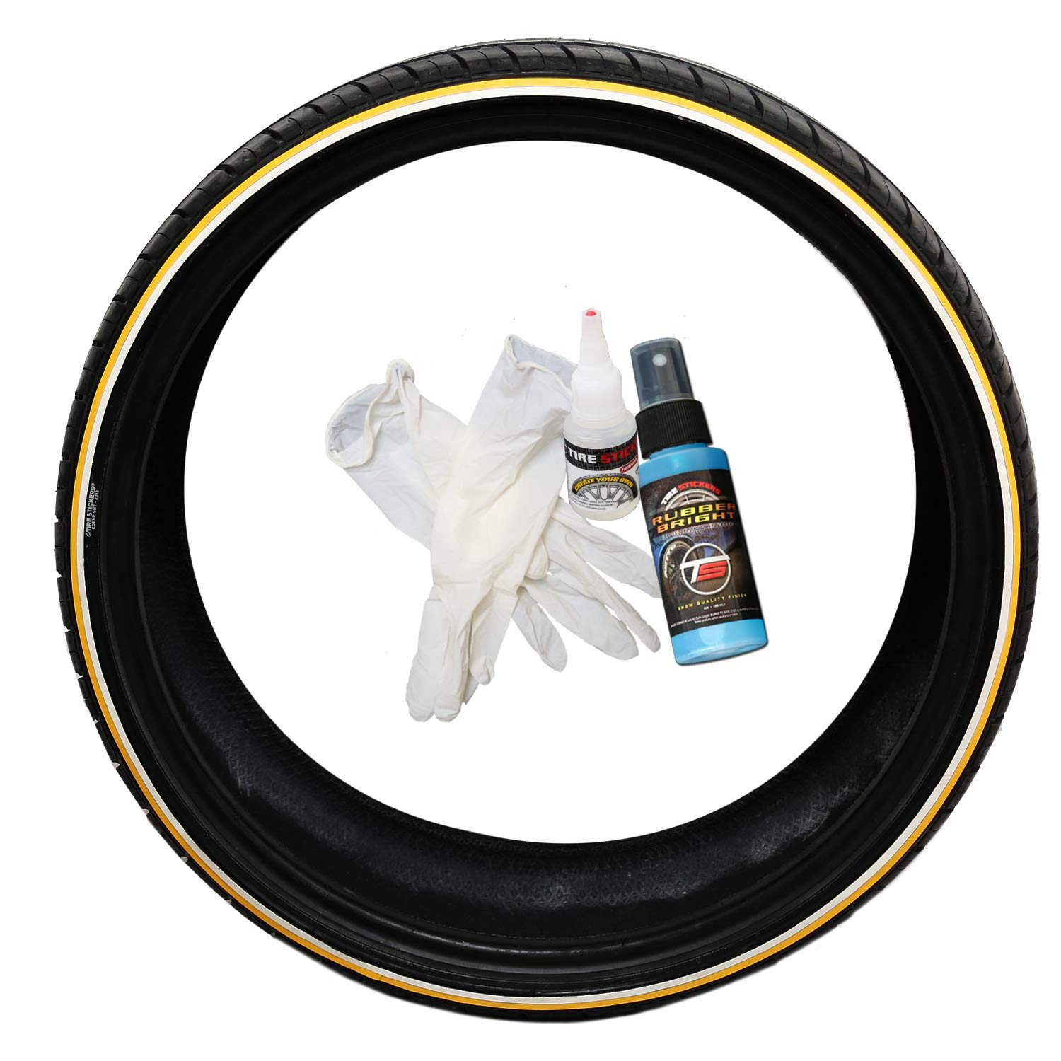 Tire stickers gold line white line tire add on rubber stripe kit vogue style diy application to any tire with glue included custom sizing thickness