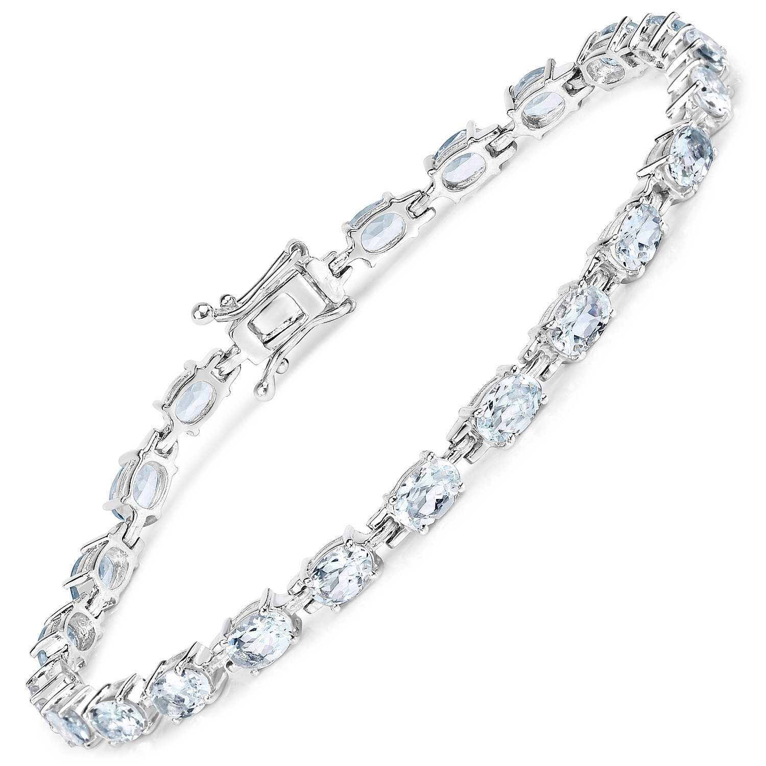 Aquamarine Oval .925 Sterling Silver Bracelet 8.80ctw. From Johareez