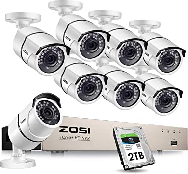 ZOSI H.265 4CH 1080P NVR 1T 960P Caméra IP WiFi Surveillance Extérieur Sans Fil