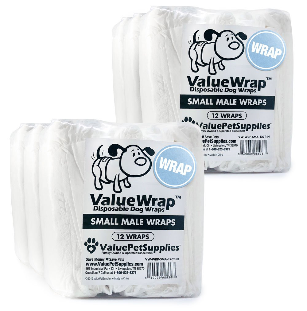 ValueWrap Male Dog Wraps, 2-Tab Small, 72 Count