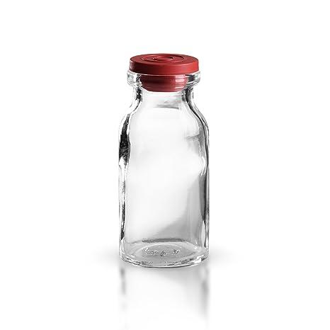 20 x Botellas inyectar 10 ml de cristal transparente con tapón (goma roja inyectar Tapón) ...