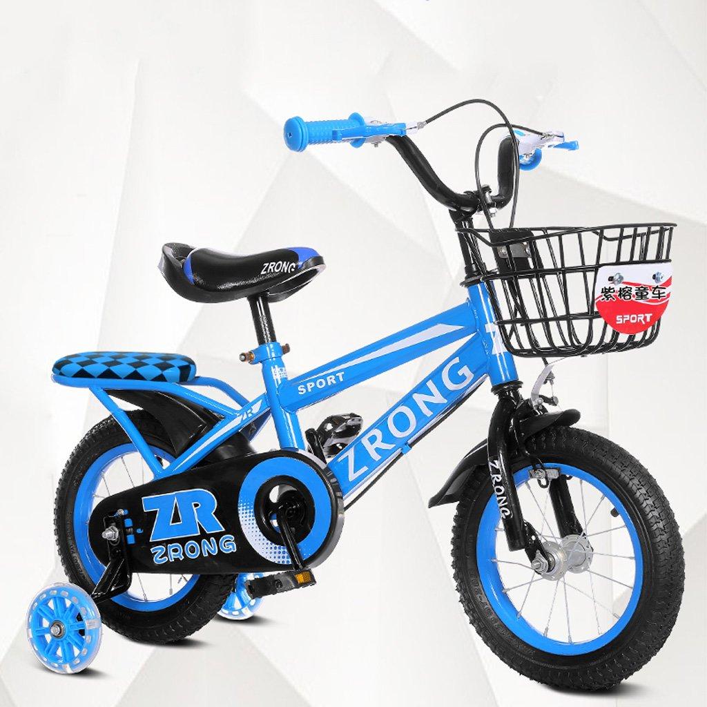 子供の自転車4-7歳の子供用自転車16インチの男の子は、高炭素スチールの赤ちゃんキャリッジ、赤/青/緑をサイクリング (Color : Blue) B07CXK7LY4