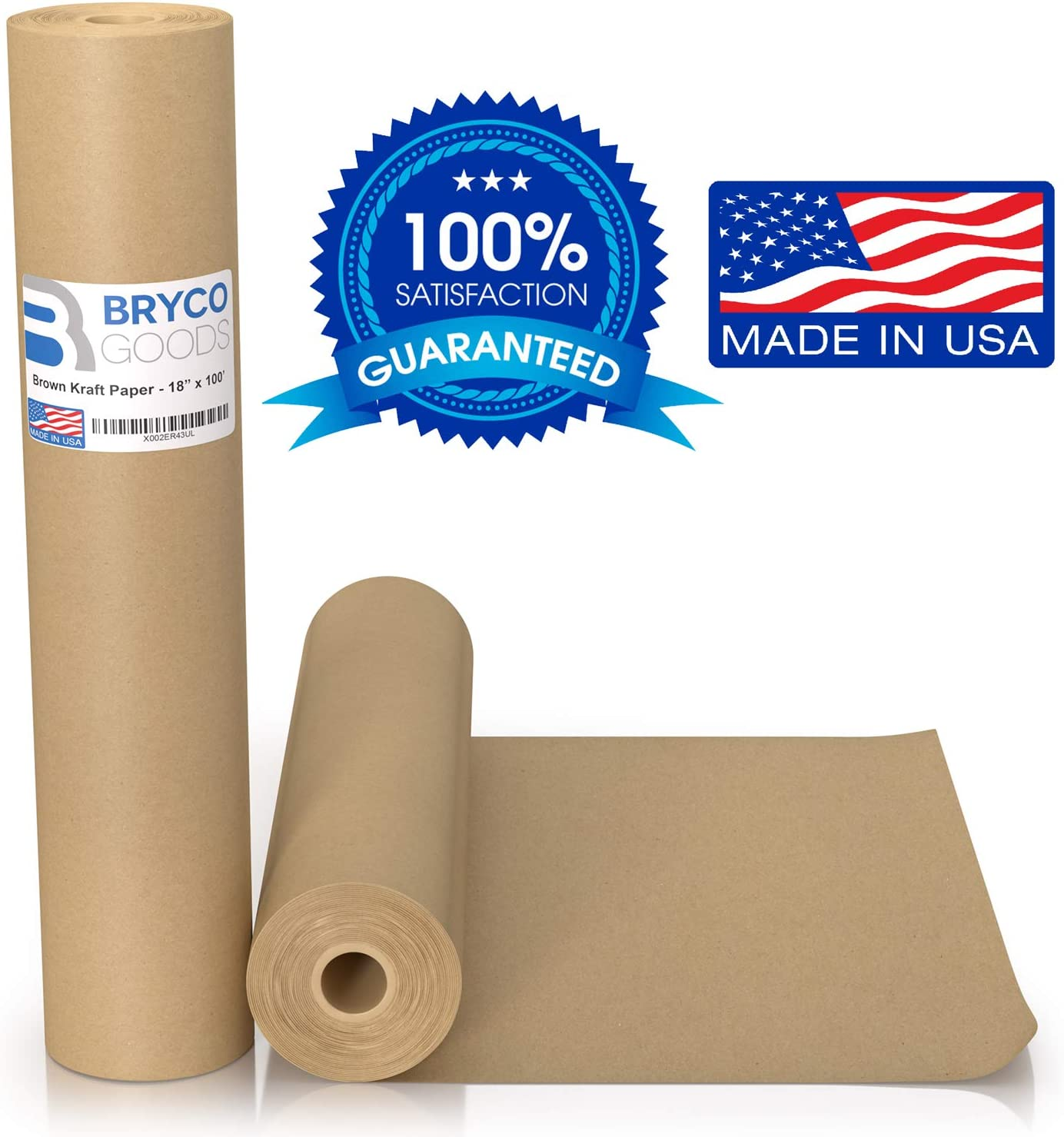 """Brown Kraft Paper Roll - 18"""" x 1,200"""" (100') Made in The USA - Ideal for Packing, Moving, Gift Wrapping, Postal, Shipping, Parcel, Wall Art, Crafts, Bulletin Boards, Floor Covering, Table Runner"""