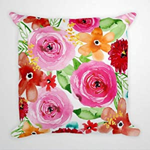 BYRON HOYLE Santa Monica Floral Cushion Cover,Throw Pillow Cover,Rustic Linen Decorative Lumbar Pillowcase for Chair Room Sofa car,Home Decor,Housewarming 1818 Inch