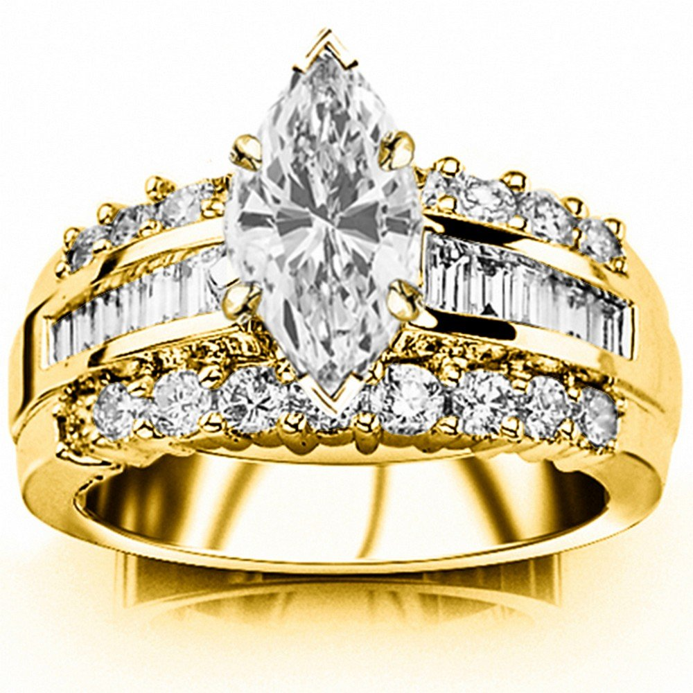 0995c52cb436bf 1.6 Carat t.w. GIA Certified Marquise Cut 14K White Gold Channel Set  Baguette and Round Diamond Engagement Ring (G-H Color VS1-VS2 Clarity)