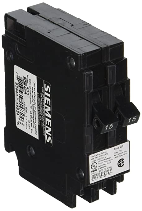 Siemens Q1515 Two 15-Amp Single Pole 120-Volt Circuit Breakers, for ...