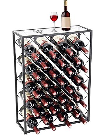 D4P Display4top Botellero con Tablero para 32 Botellas para Vino Estante de Vino con Mesa de