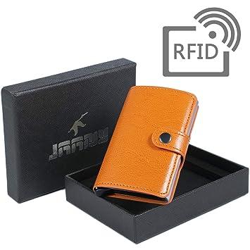 Tarjetero RFID Cartera Crédito, Cartera Tarjeta de Crédito Monedero de Cuero PU Cartera de Aleación de Aluminio Multiuso Bolsillos para Hombres y Mujeres ...