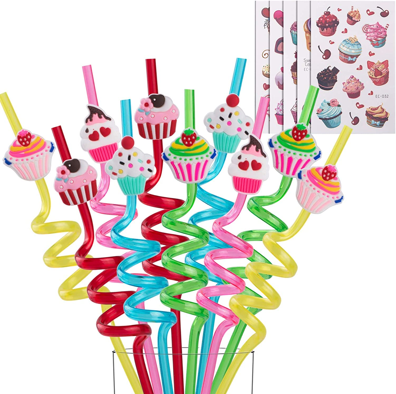 Reusable Cupcake Straws-Plastic Drinking Straws for Kids Birthday Party Decorations-Theme Birthday Party Supplies -Set of 25(20 Cupcake Straws+5 Cupcake Temporaty Tattoos)