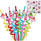 Reusable Cupcake Straws-Plastic Drinking Straws for Kids Birthday Party Decorations-Theme Birthday Party Supplies -Set…