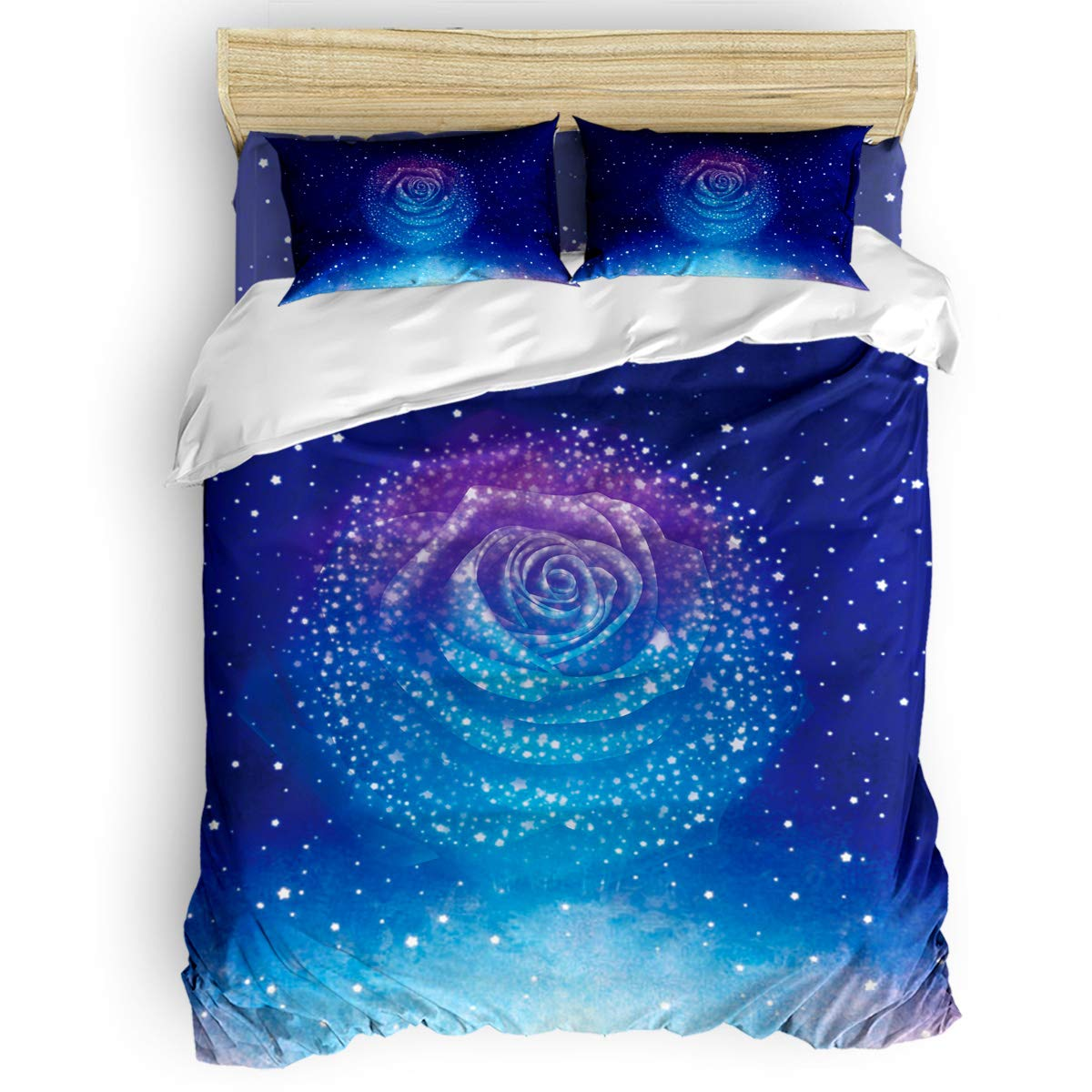 Queen Area Microfiber 4pcs Bedding Duvet Cover Set Twin,Blue Stary Sky with Rose Flower Soft and Breathable with Zipper Closure & Corner Ties