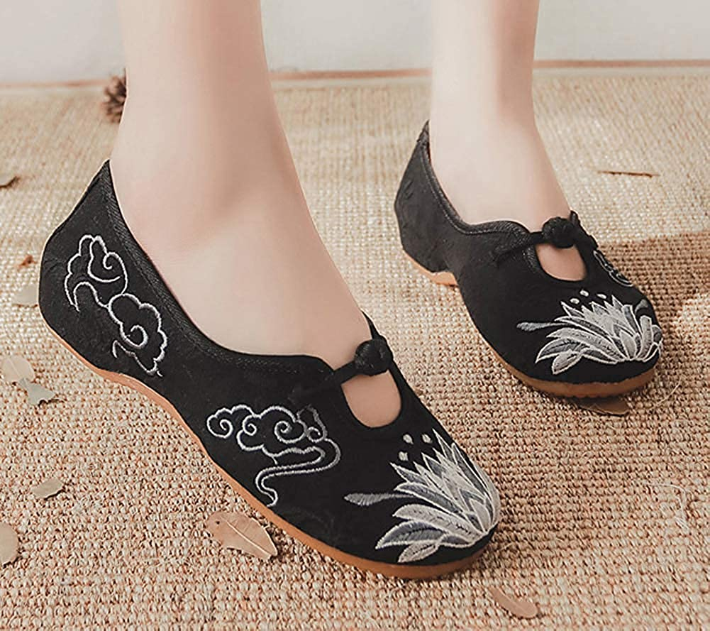 Unm Womens Lotus Embroidery Frog Round Toe Comfort Walking Loafer