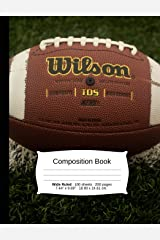 """Football Composition Notebook, Wide Ruled: Composition Notebook, Lined Student Writing Journal, Exercise Book, 200 pages, 7.44"""" x 9.69"""" (Sports Series) Paperback"""