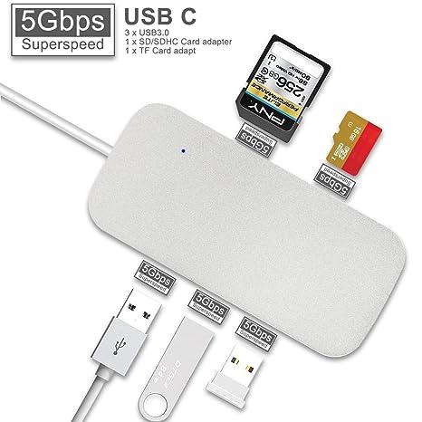 Amazon.com: USB C HUB, USB Type-C adaptador con 3 puertos ...