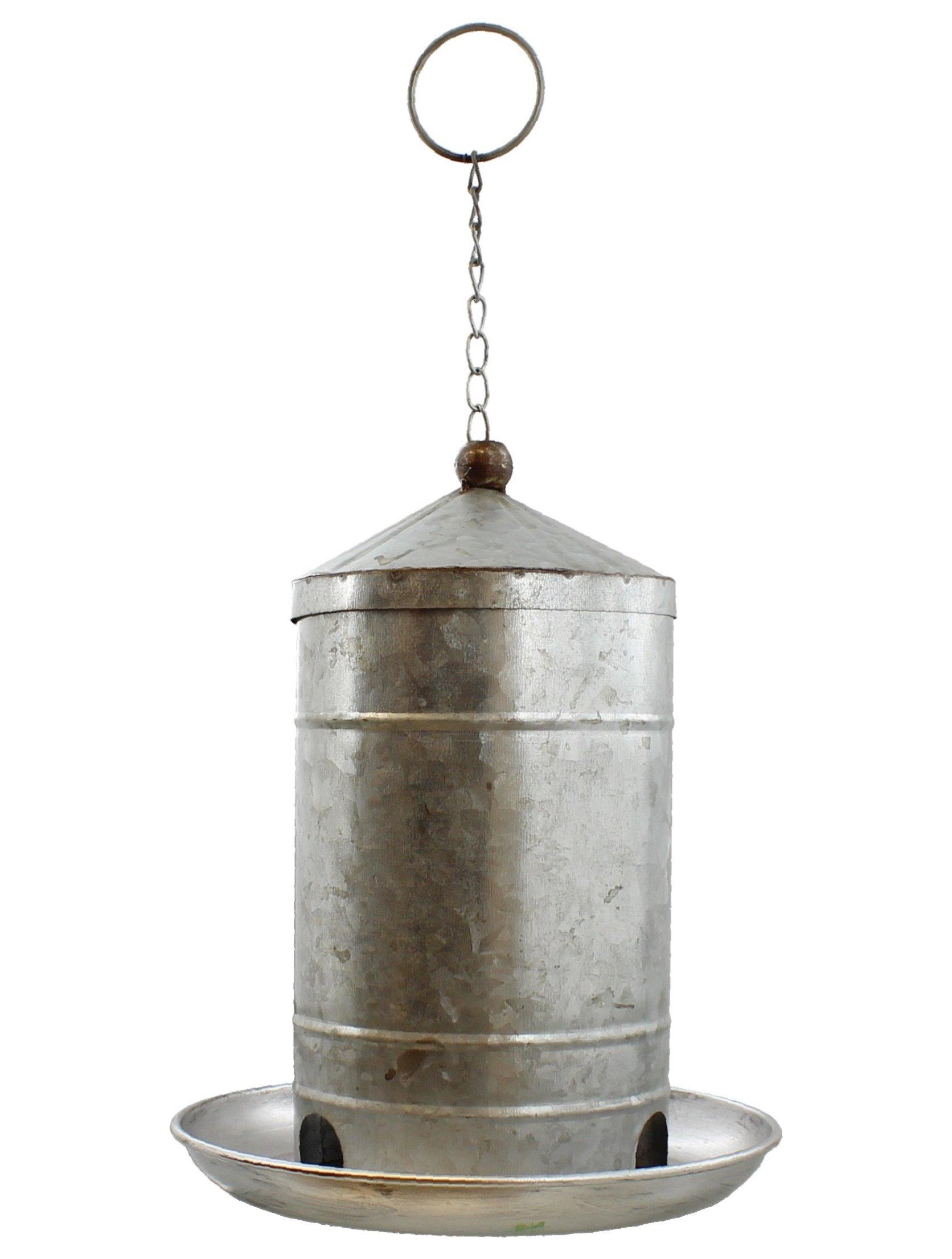 LL Home 11'' Decorative Galvanized Metal Hanging Silo Wild Bird Feeder