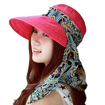 HugeStore Floppy Foldable Wide Brim Floral Chic Sun Hat Sun Visor with Neck  Flap Protection for ad724d41903