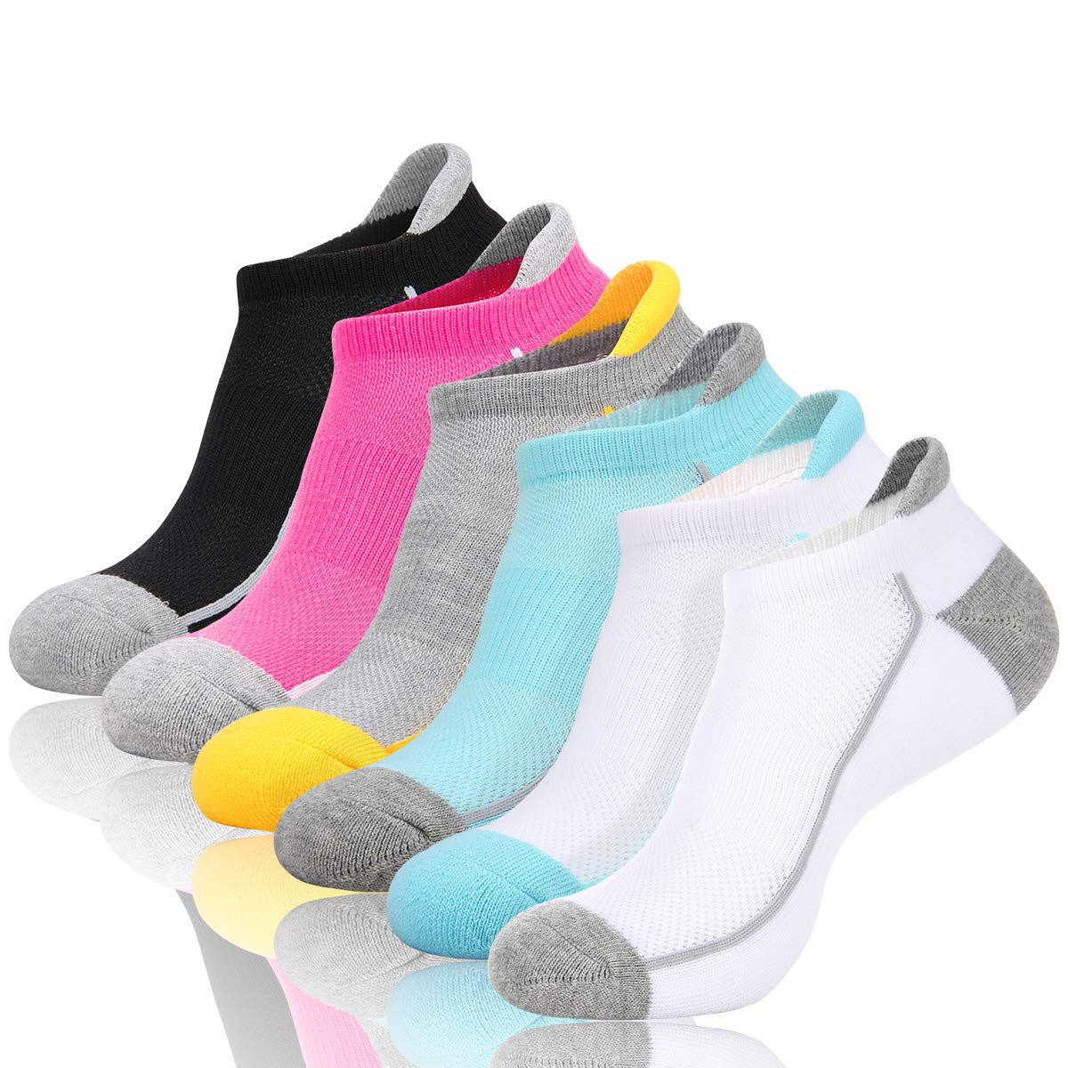 Eallco Womens Low Cut Ankle Athletic Socks Cushioned Breathable Comfort Running Tab Sock With Arch Support 6 Pack